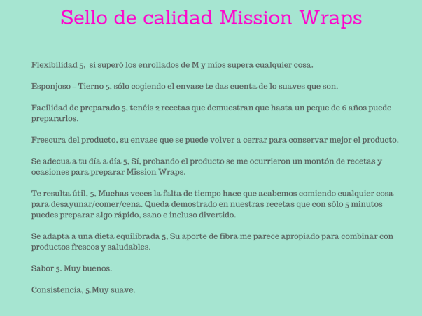 Sello de calidad Mission Wraps mamistarsblog
