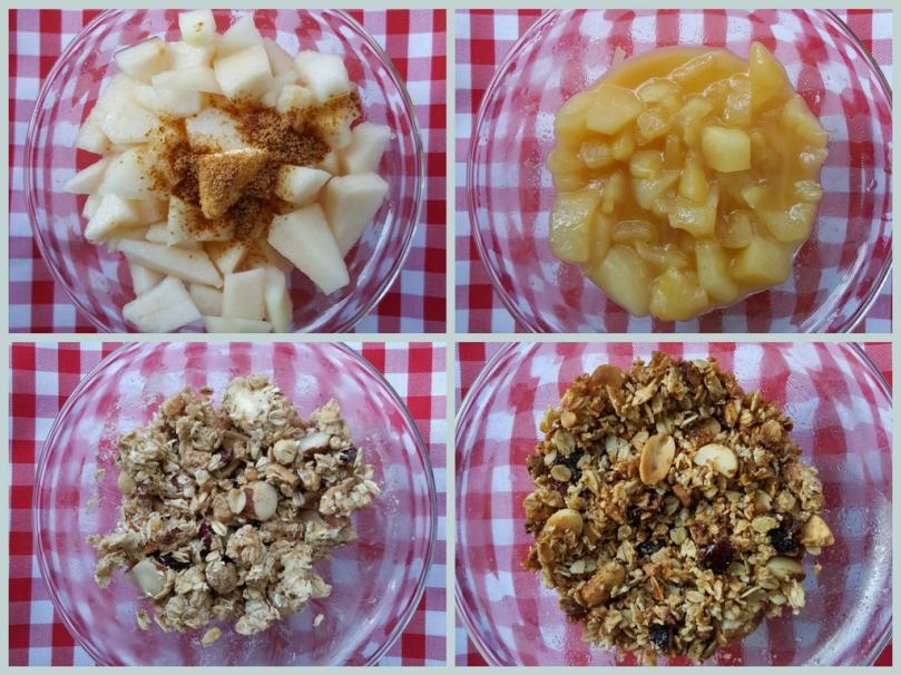 crumble de peras y avenareceta fácil al microondas